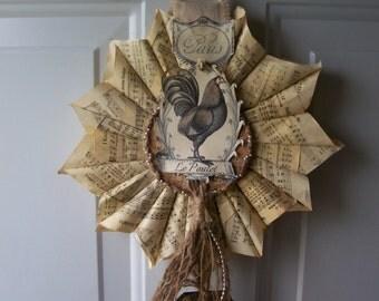 SaLe~Paris Le Poulet, vintage hymnal paper cone,OOAK wreath, &tag w/FREE ship!