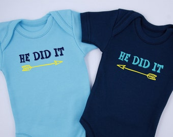 Funny Twin Boy Gifts, HE DID IT Bodysuits, Set of 2 - Ocean Blue & Navy Blue Bodysuits, Baby Twin Gifts, Twin Boys, Newborn to 12-18 months