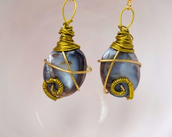 Black and Grey Wire Wrapped Stone - Handmade Earrings