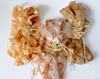 Seam Binding Ribbon - French Vintage Style Ribbon - Rayon Seam Binding - Flesh Beige - Rose Beige - Liqueur Brown – 18 yards in total