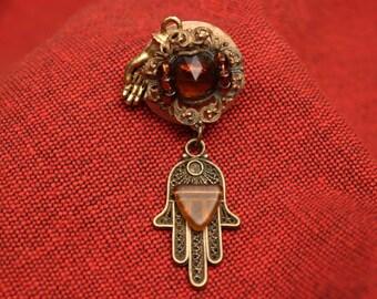 Steampunk Brass Hand Brooche or Pin
