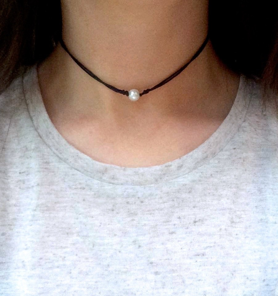 Boho Pearl Choker Adjustable Cord Necklace Layering