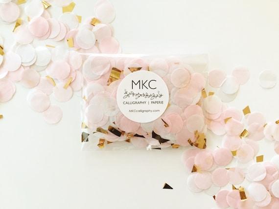 Blush, White, & Gold Tissue Confetti / Round Cut / Handmade / Bridal Shower, Baby Shower, Birthday's, Weddings, etc.