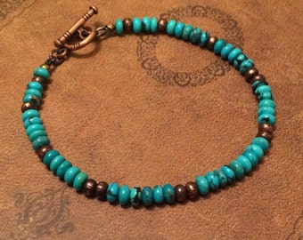Natural Turquoise Bracelet, Native American Jewelry, Turquoise Jewelry, Southwestern, Womens Beaded Bracelet, Boho, Mens Beaded Bracelet