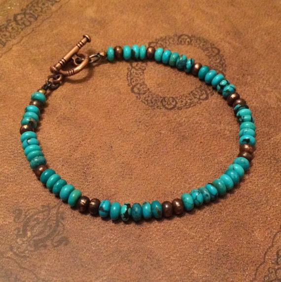 Mens Native American Beads: Natural Turquoise Bracelet Native American Jewelry Turquoise