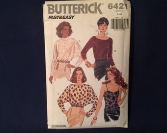 Butterick 6421 Misses Top Sewing Pattern Size L-XL Factory Folded