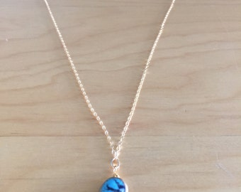 14K Gold Filled necklace with turquoise pendant