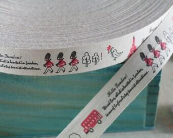 "2 Meters of 2.0 cm (~ 0.8"") Wide Zakka Cotton Ribbon/Sewing Tape/ Cotton Label --- ""Hello London!"" Print"