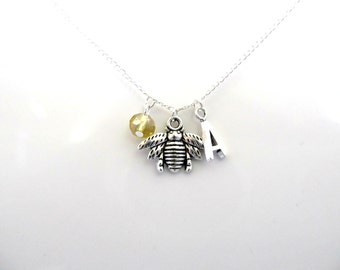 A Tibetan silver Bee Personalised Charm Pendant Necklace