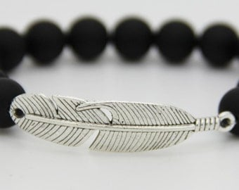 Beads Bracelet man black amatie obsidian and silver pattern 925
