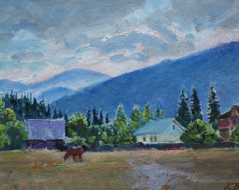 Sale! MOUNTAINS RURAL LANDSCAPE, Vintage Original Oil Painting by A. Belsky 2000s, Signed, Horse Painting, Fine Art, Meadows, Fields, Nature