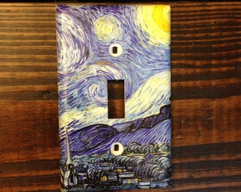 Vincent Van Gogh Starry Night Light Switch | Van Gogh Wall Art - Van Gogh Decor - Starry Nursery - Post-Impressionism - Mid 1800s Art - Gift