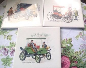 Three Vintage Car Tiles/ Ceramic Tiles/ Trivets/Made in England/Set of Three - 1970's