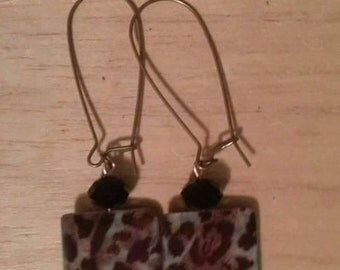 Brown Animal print earrings