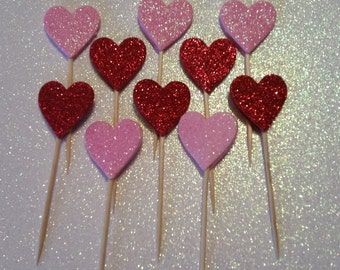 Mini Pink and Red Glitter Heart Cupcake Toppers-Set of 10
