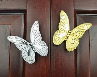 Butterfly Dresser Knobs Pulls Drawer Pull Handles / Kitchen Cabinet Door Handle / Gold Silver Cupboard Wardrobe Handle Hardware