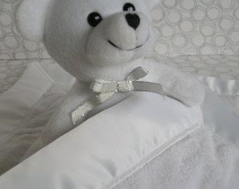 handmade bear security blanket white