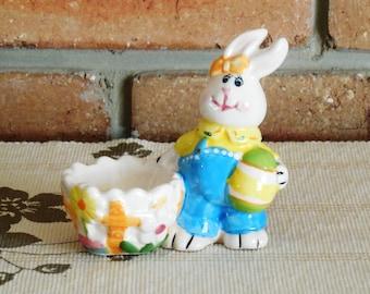 1960s vintage retro ceramic Easter bunny egg cup