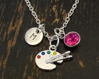 Paint Palette Necklace, Paint Palette Charm, Paint Palette Pendant, Artist Jewelry, Artist Necklace, Artist Charm, Artist Pendant, Painter