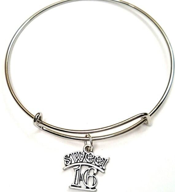 Sweet 16 Charm Bracelet: Sweet 16 Bangle Bracelet Adjustable Expandable Bangle