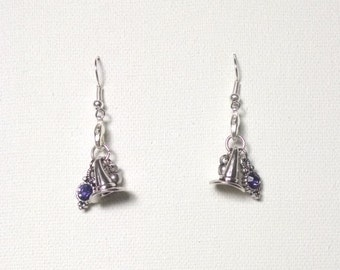 Witch Hat Earrings with Purple Accent