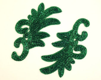 Emerald green bugle and seed bead large leaf motif appliques. Great holiday decoration. Made in India. 4 available. Offered 2 to an order.