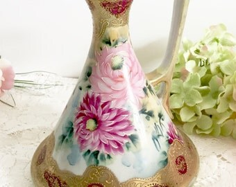 Vintage Nippon Hand Painted Pitcher: Pre WWII Jug, Floral Jug - Japanese Hand Painted Jug, Nippon Ewer, Nippon Jug, Nippon Pitcher