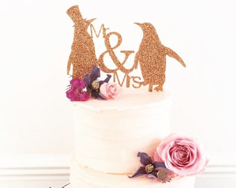 Mr And Mrs Penguin Wedding Cake Topper Medium Size-wedding cake decoration-penguin themed wedding cake-wedding accessories-