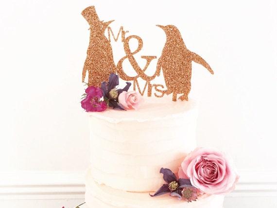 Mr And Mrs Penguin Wedding Cake Topper Medium Size-wedding cake ...