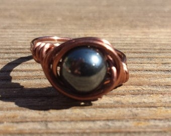 WIRE WRAPPED RING Hematite  in Antiqued Copper Handmade