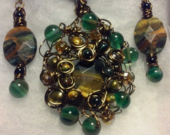 "Wire Jewelry Set, Handmade- Glass Beads, Tigers Eye, Bronze, Design, Pendant Necklace (L- 22"", Adjustable)/Earrings (1.5"")"