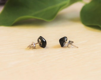 Shungite earrings studs, beads, shungite french hook earrings, Shungit jewelry, EMF protection, crystal healing, Christmas gift for her