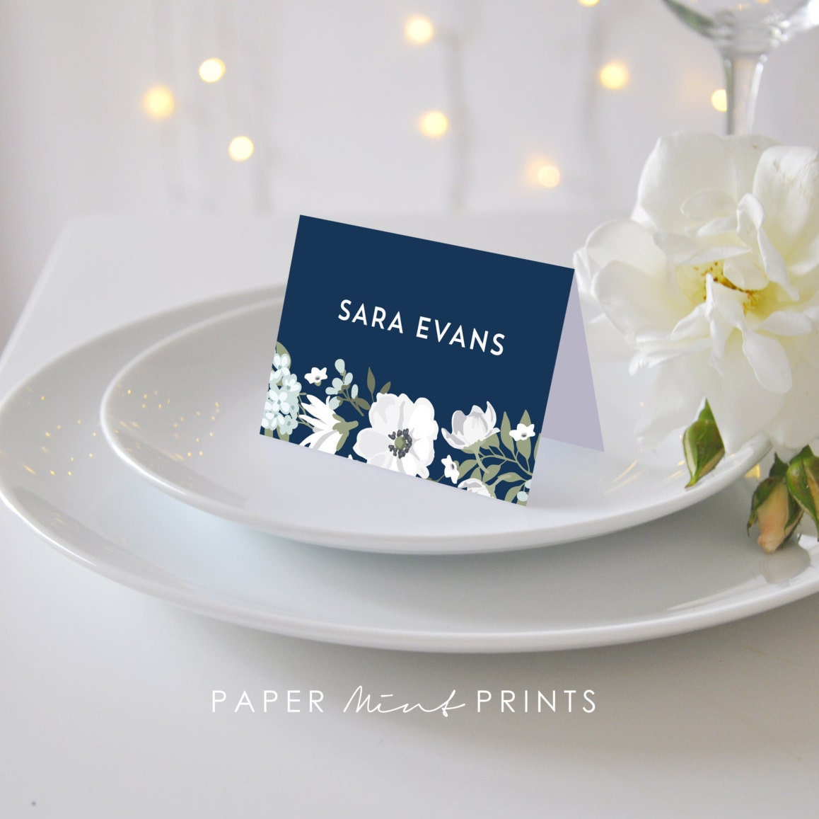 printable place card navy floral flat or by papermintprints