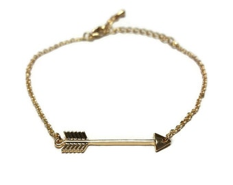 Arrow Charm Chain Bracelet Simple Gold Chain Bracelet Anniversary Gift Chain Bracelet Adjustable Chain Link Lobster Clasp Gift for Her