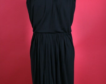 LBD Little Black Sleeveless Dress with stunning gathered waist and flowing bodice by Elis Porter
