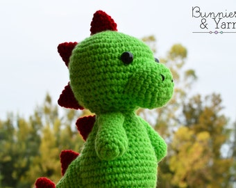 CROCHET PATTERN Tim the Friendly Dinosaur - 10 in. tall  Amigurumi Dinosaur Animal Crochet Toy Nursery Baby Kids Gift - Instant PDF Download