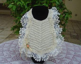 Crochet baby bib macrame beige tulle, lace, Ribbon and flower of satin, crochet baby bib made in Italy. OOAK Art. 54