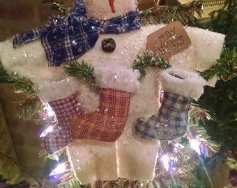 "Primitive Handmade ""Homespun Stockings"" Snowman Ornament"