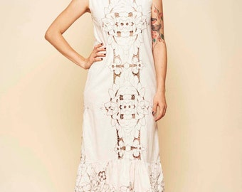 Redesigned vintage dress / Boho dress / White dress / Maxi dress / Wedding dress / Lace dress / Cotton dress / Vintage dress