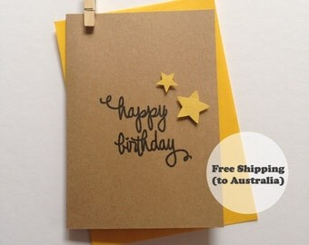 Happy Birthday Star Card – Cute Birthday Card – Kids Birthday Card – Cute Happy Birthday Card – Star Happy Birthday Card