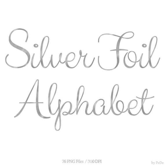 Alphabet Foil Silvers: BUY 3 FOR 8 USD Silver Foil Alphabet Clip Art Silver Foil