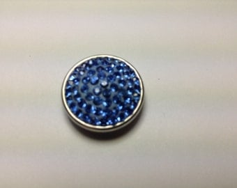 1- 18mm Light blue jeweled Snap Button