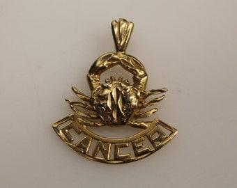 Vintage Estate Jewelry - 10k Yellow Gold Cutout Design Diamond Cut Cancer Crab Zodiac Sign Charm