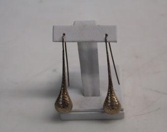 Vintage 925 Zina Sterling Silver Hammered Dangle Teardrop Earrings