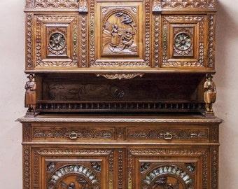 Antique French Breton Cabinet Beautiful Art in Furniture #1732
