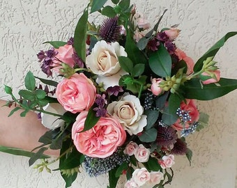 2x Bouquets Wedding Package 1 x Bridal Bouquet, 1 x Bridesmaid Bouquet, 2 x Buttonholes, Wedding Flowers Bridal