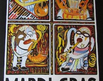 Amzie Adams Art - 1995 Mardi Gras Music Festival New Orleans Carnival Poster