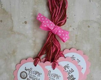 Welcome Little One Hang Tags, Set of 6 (Pink)