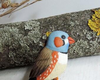 Cute bird brooch - finch brooch - polymer clay jewelry - bird jewelry