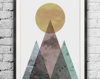 Abstract Mountain, Mid Century Modern, Textured Mountain Printable, Circle Print, Home Decor, Abstract Wall Art, Scandinavian, Modern Art